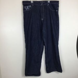 Ecko Unlimited Dark Wash Embroidered Pockets 44B